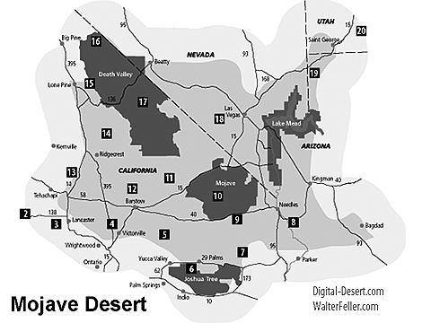 Map of the Mojave Desert