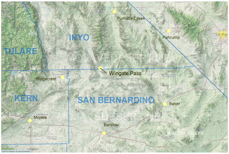 map of Location of Wingate Pass with county boundary lines.