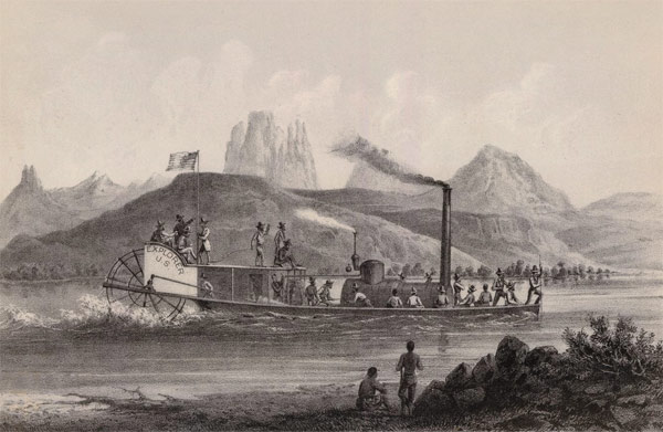 Ives Expedition steamboat and crew heading up the Colorado River, 1857.