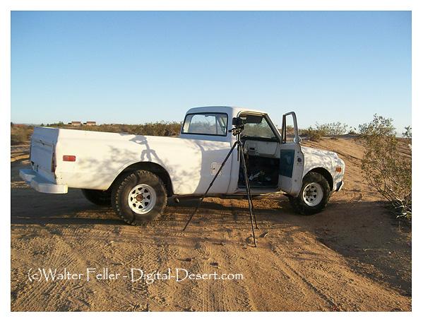 Walter Feller photography truck in desert