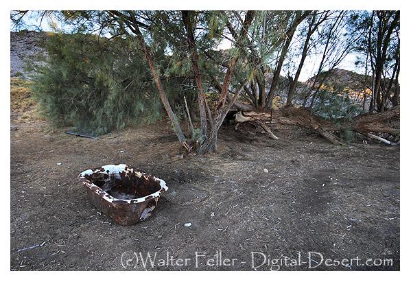 Bath tub in desert.
