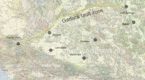 Garlock fault located and highlighted on geology map