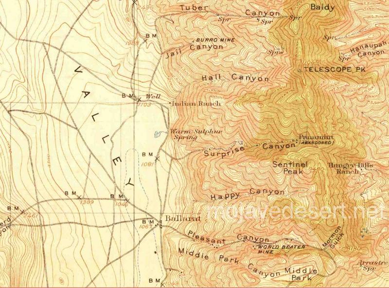 Map pf Panamint Mtns. & Valley area - Ballarat