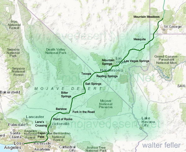 Map of the Old Spanish Trail (Mormon Road) from Mountain Meadows, UT. to San Bernardino, CA.
